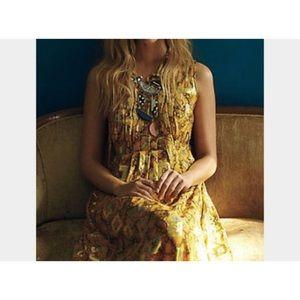 Anthropologie HD paris goldspun gold dress US 6